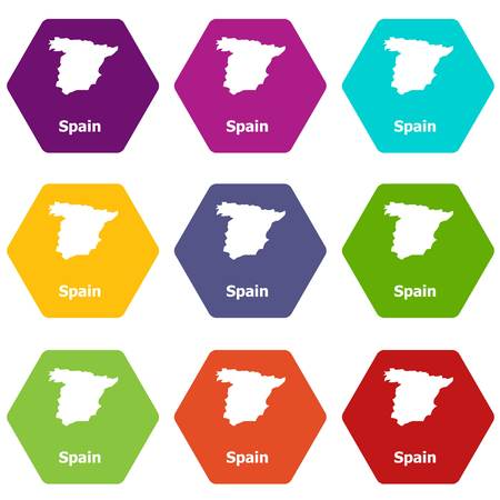 Spain map icons set 9 vector Illustration