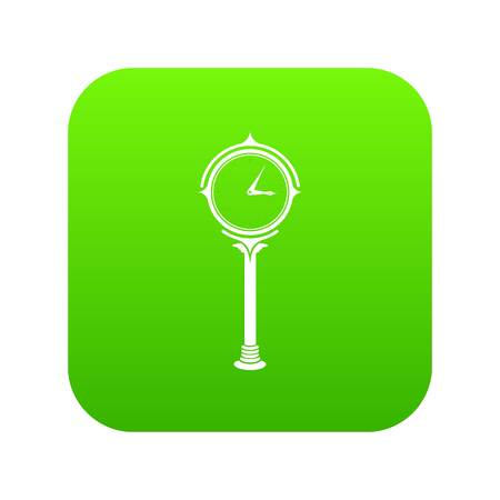 Station clock icon green vector isolated on white background