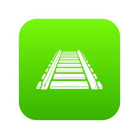 Railway icon green vector isolated on white background Ilustrace