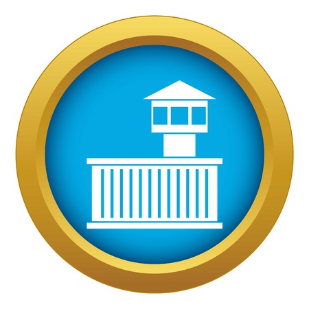 Prison tower icon blue vector isolated Illustration
