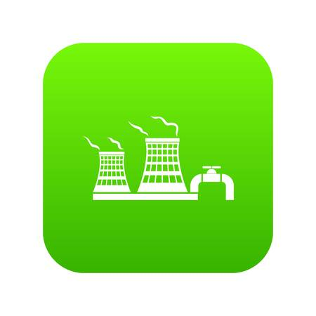 Tower of chemical factory icon green vector isolated on white background