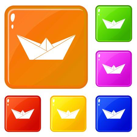 Origami boat icons set vector color