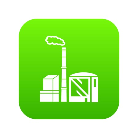 Chimney and building of chemical plant icon green vector isolated on white background