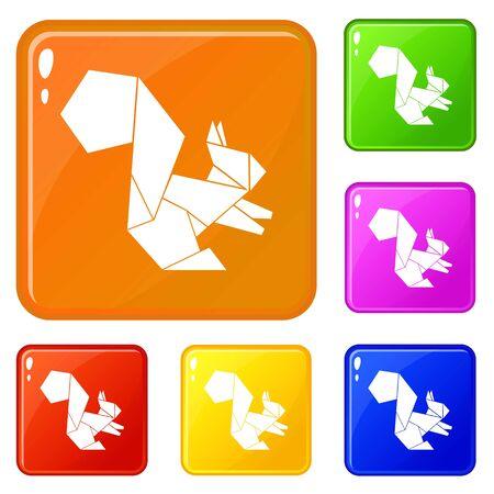 Origami-Eichhörnchen-Symbole setzen Vektorfarbe