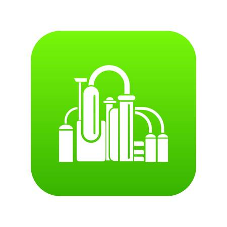 Chemical equipment icon green vector isolated on white background