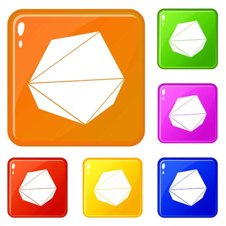 Origami stone icons set vector color