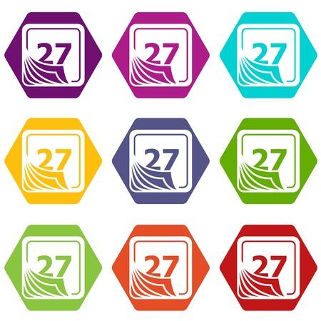 Page calendar icons set 9 vector