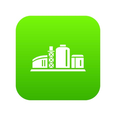 Chemical plant icon green vector isolated on white background Illustration