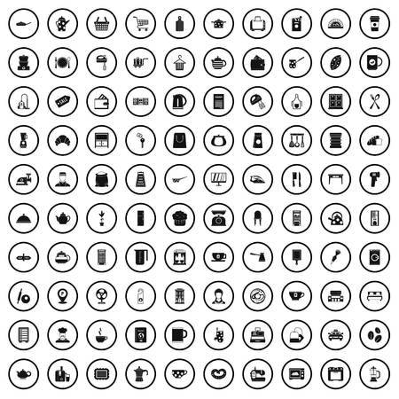 100 icônes d'ustensiles de cuisine, style simple