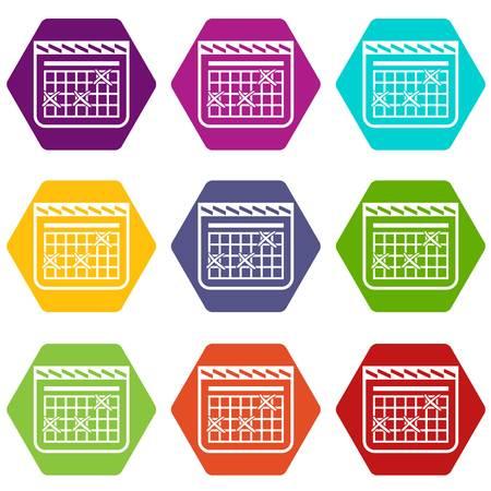 Calendar for schedule icons set 9 vector