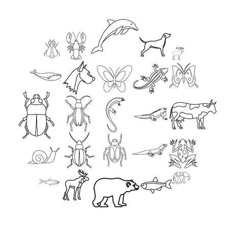 Artiodactyls-Symbole gesetzt. Umreißen Sie den Satz von 25 Artiodactyls-Vektorikonen für das Netz, das auf weißem Hintergrund lokalisiert wird