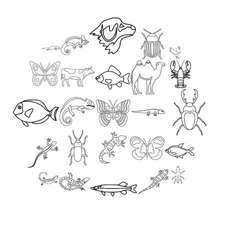 Animals from desert icons set. Outline set of 25 animals from desert vector icons for web isolated on white background