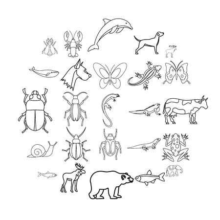 Artiodactyls icons set. Outline set of 25 artiodactyls vector icons for web isolated on white background
