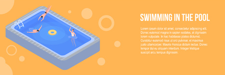 Swimming in the pool banner. Isometric illustration of swimming in the pool vector banner for web design
