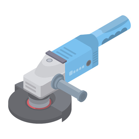 Angle grinder icon. Isometric of angle grinder vector icon for web design isolated on white background Çizim