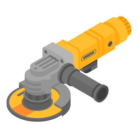 Modern angle grinder icon, isometric style