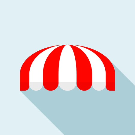 Red striped round tent icon. Flat illustration of red striped round tent vector icon for web design Illustration