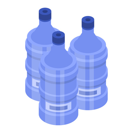 Water bottle for cooler icon. Isometric of water bottle for cooler vector icon for web design isolated on white background Vetores