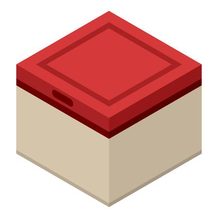 Fridge box icon, isometric style