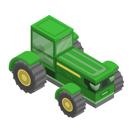 Green big tractor icon. Isometric of green big tractor vector icon for web design isolated on white background 向量圖像