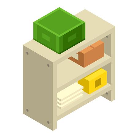 Symbol für Garagenregale. Isometrische der Garagenregalvektorikone für das Webdesign lokalisiert auf weißem Hintergrund Vektorgrafik