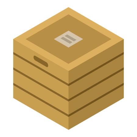 Icône de boîte en bois, style isométrique Vecteurs