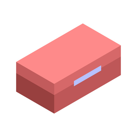 Red tool box icon, isometric style