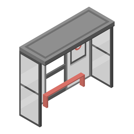 Bus stop icon. Isometric of bus stop vector icon for web design isolated on white background  イラスト・ベクター素材