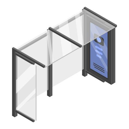 Icona della fermata dell'autobus di vetro, stile isometrico