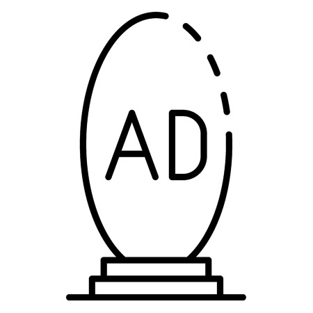 Oval ad lightbox icon, outline style