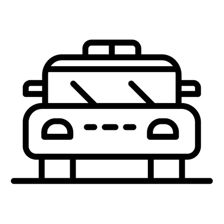 Police patrol car icon, outline style Illustration