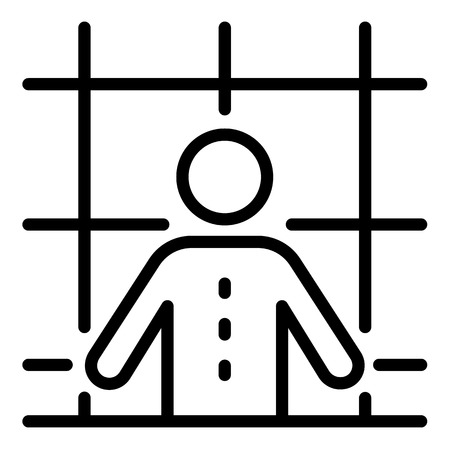 Prison man icon. Outline prison man vector icon for web design isolated on white background