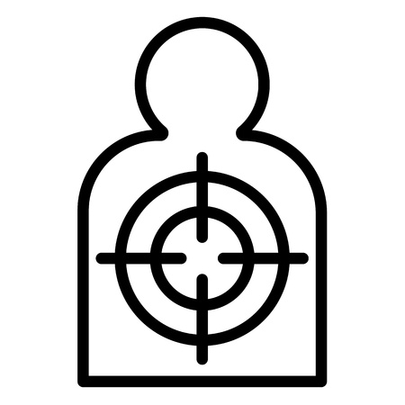 Man silhouette target icon. Outline man silhouette target vector icon for web design isolated on white background