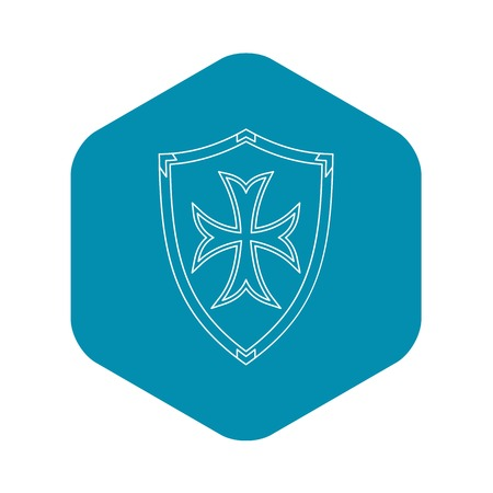 Protective shield icon. Outline illustration of protective shield vector icon for web