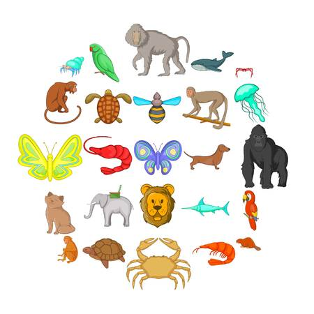 Wood animals icons set. Cartoon set of 25 wood animals icons for web isolated on white background