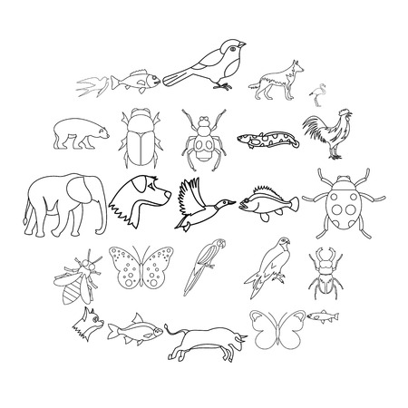 Urban animals icons set. Outline set of 25 urban animals vector icons for web isolated on white background