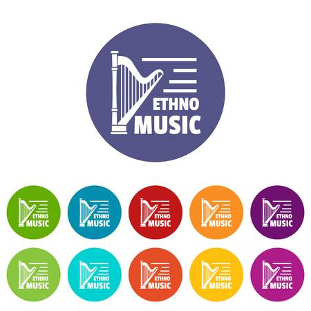 Harp icons set vector color