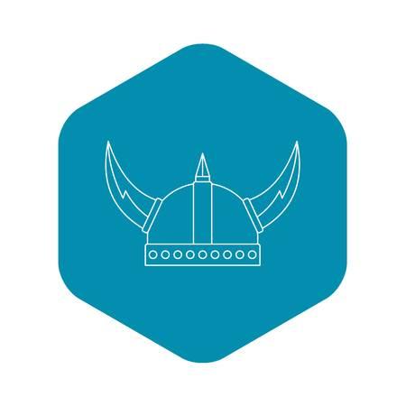 Viking helmet icon. Outline illustration of viking helmet vector icon for web Ilustração