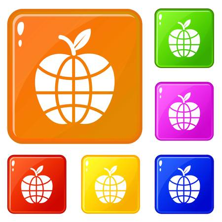 World apple icons set collection vector 6 color isolated on white background Stock Vector - 124976712