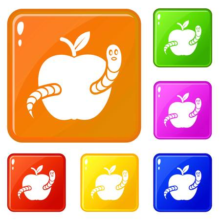 Worm apple icons set collection vector 6 color isolated on white background Illustration