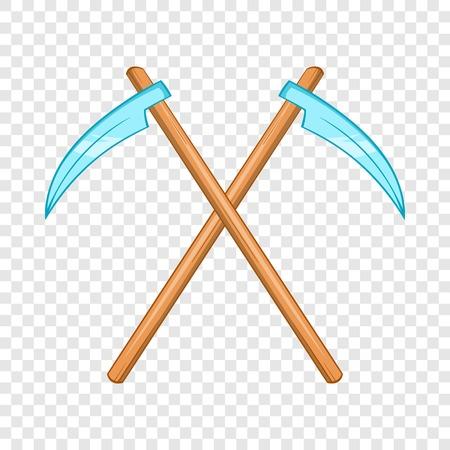 Death scythe icon, cartoon style