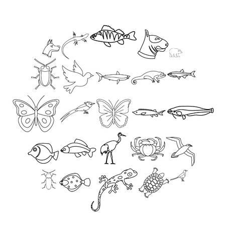 Stadttiere Icons Set. Umreißen Sie den Satz von 25 Stadttiervektorikonen für das Netz, das auf weißem Hintergrund lokalisiert wird