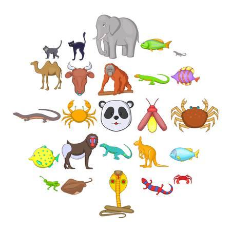 Animals of the jungle icons set. Cartoon set of 25 animals of the jungle vector icons for web isolated on white background  イラスト・ベクター素材