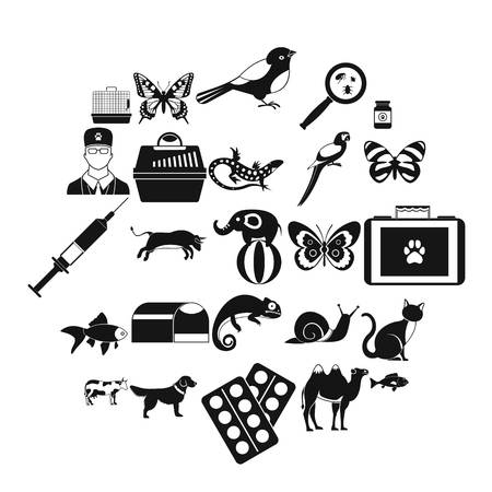 Vet clinic icons set. Simple set of 25 vet clinic icons for web isolated on white background