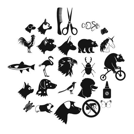Dogs icons set. Simple set of 25 dogs icons for web isolated on white background 向量圖像