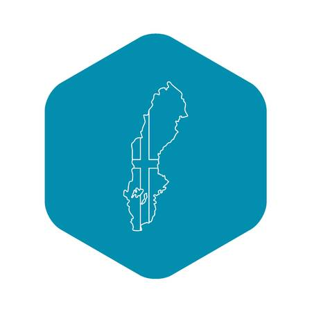 Map of Sweden icon. Outline illustration of map of Sweden vector icon for web