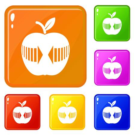 Arrow apple icons set collection vector 6 color isolated on white background Stock Vector - 124976727