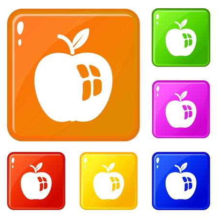 Ripe apple icons set collection vector 6 color isolated on white background Stock Vector - 124976756