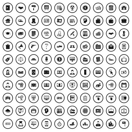100 lending icons set in simple style for any design vector illustration Banco de Imagens - 124976757