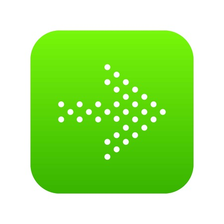Small dots right arrow icon green vector isolated on white background